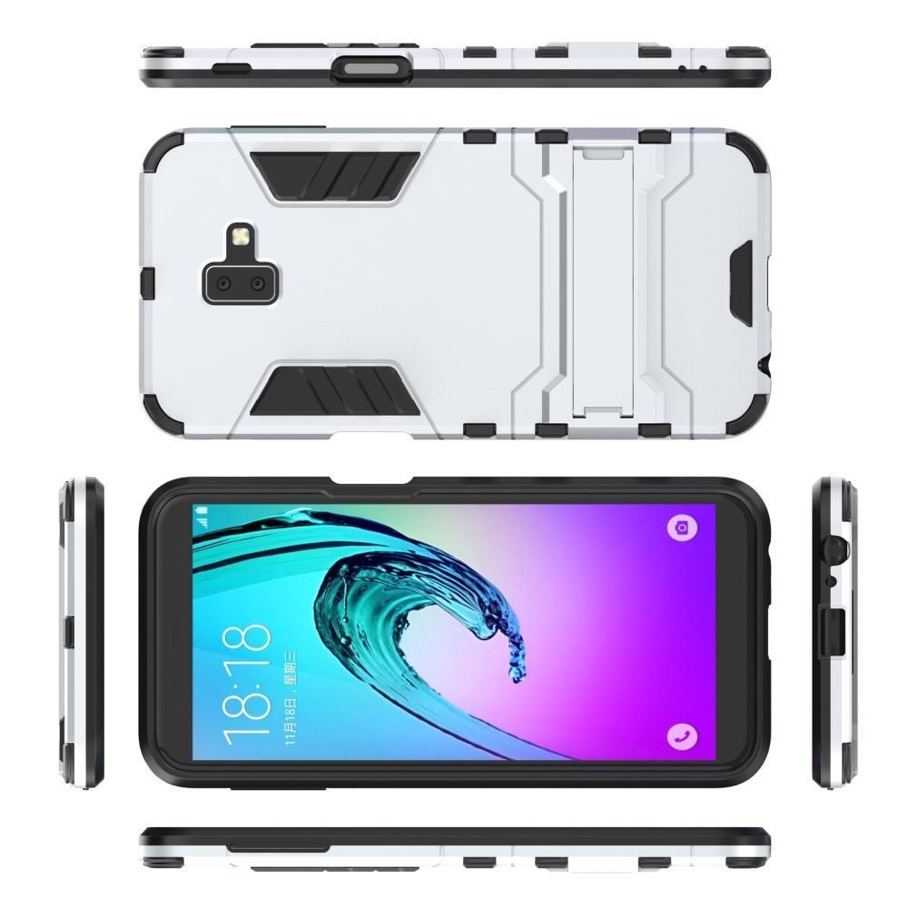 Защитный усиленный гибридный чехол противоударный с подставкой для Samsung Galaxy J6+ 2018 Белый