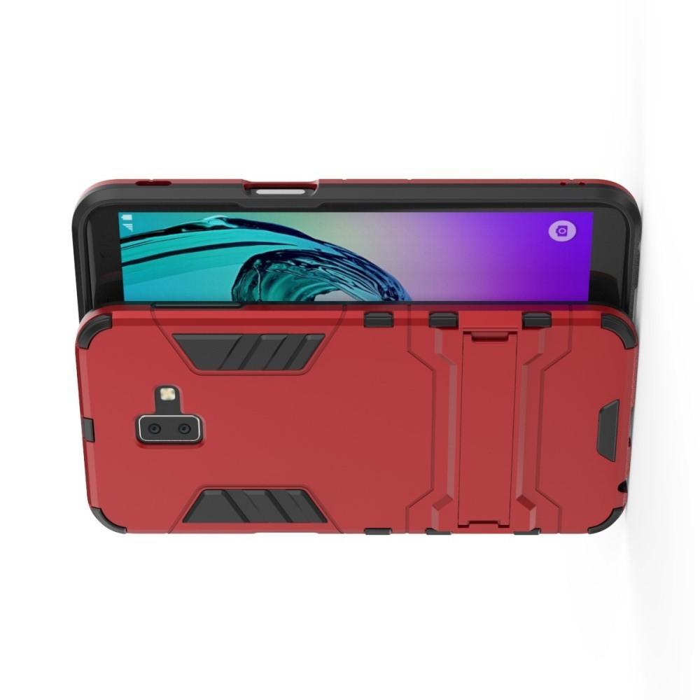 Защитный усиленный гибридный чехол противоударный с подставкой для Samsung Galaxy J6+ 2018 Красный