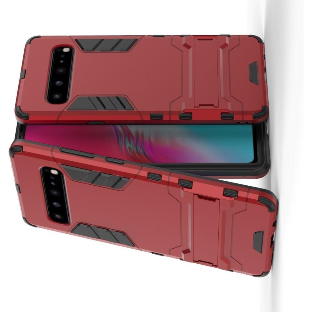 Защитный усиленный гибридный чехол противоударный с подставкой для Samsung Galaxy S10 5G Красный