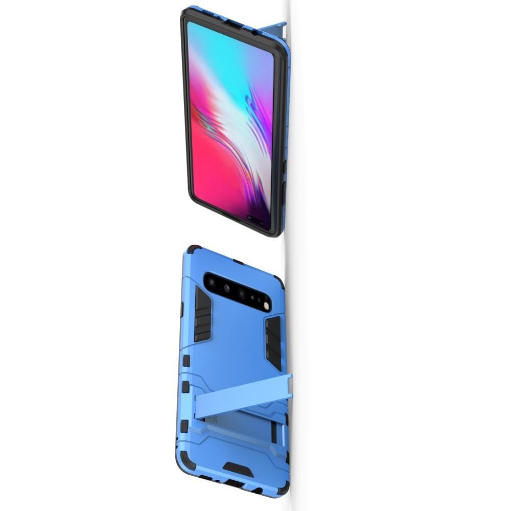 Защитный усиленный гибридный чехол противоударный с подставкой для Samsung Galaxy S10 5G Синий