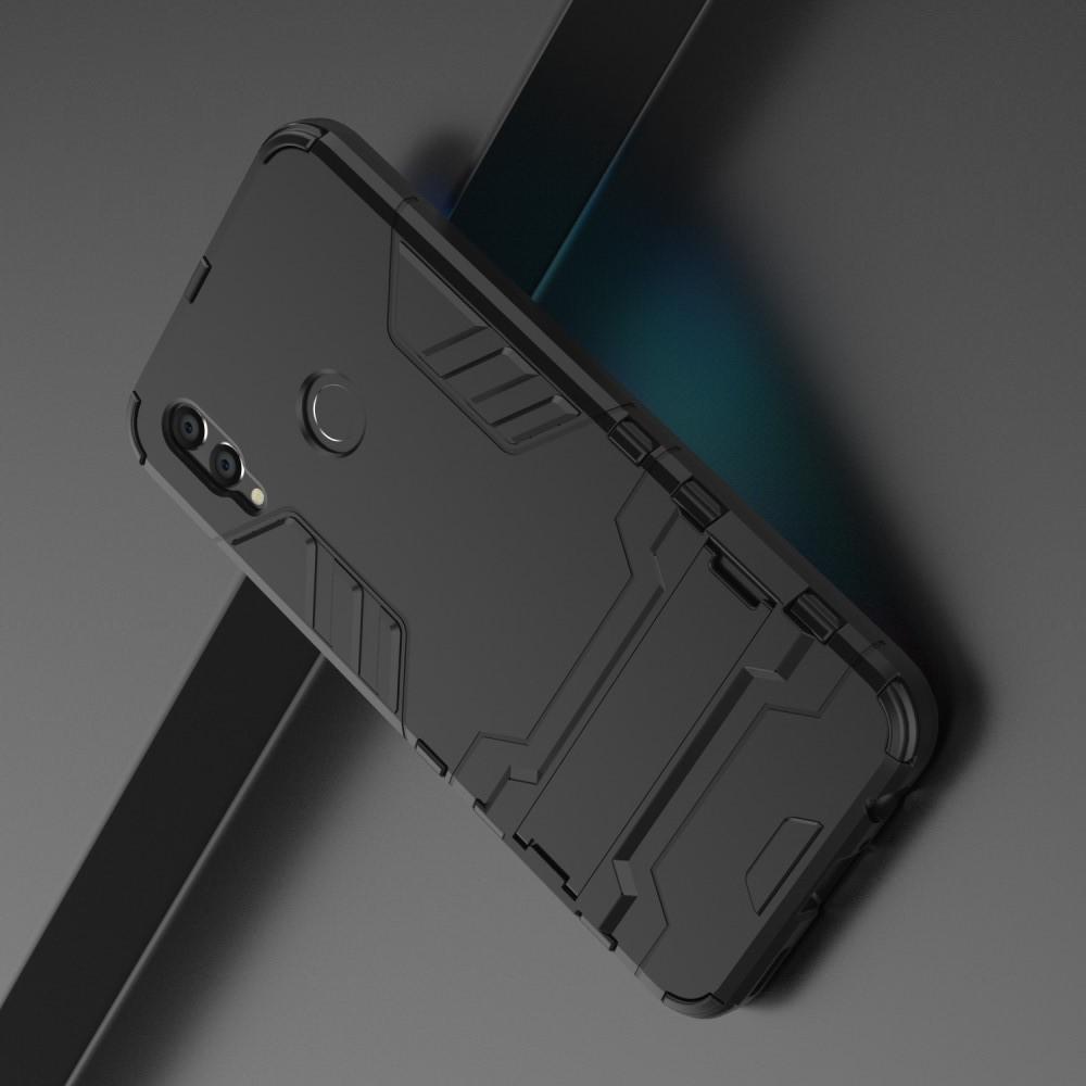 защитный усиленный гибридный чехол противоударный с подставкой для Xiaomi Redmi Note 7 Note 7 Pro черный Catcase