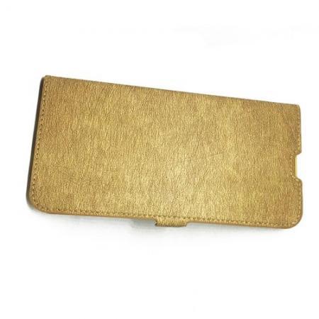 Горизонтальный Искусственно Кожаный Премиум DF Флип Чехол Книжка для Samsung Galaxy A10 с Боковой Магнитной Застежкой Золотой