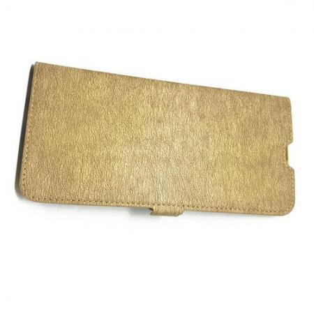 Горизонтальный Искусственно Кожаный Премиум DF Флип Чехол Книжка для Samsung Galaxy A30 / A20 с Боковой Магнитной Застежкой Золотой