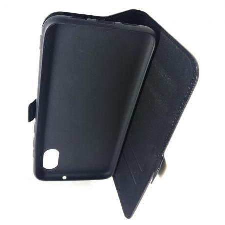 Горизонтальный Искусственно Кожаный Премиум DF Флип Чехол Книжка для Samsung Galaxy A40 с Боковой Магнитной Застежкой Черный