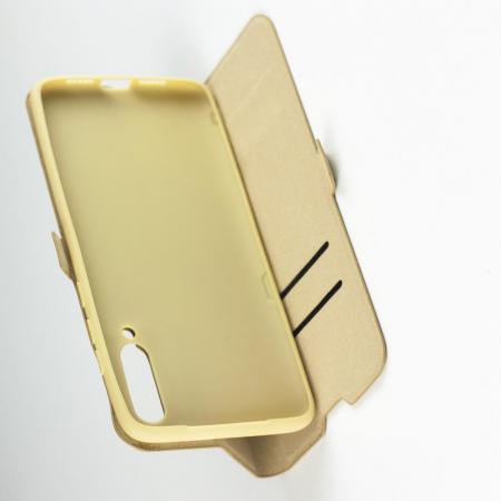 Горизонтальный Искусственно Кожаный Премиум DF Флип Чехол Книжка для Xiaomi Mi 9 с Боковой Магнитной Застежкой Золотой
