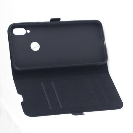 Горизонтальный Искусственно Кожаный Премиум DF Флип Чехол Книжка для Xiaomi Redmi Note 7 / Note 7 Pro с Боковой Магнитной Застежкой Черный