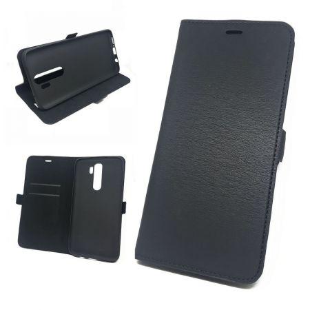 Горизонтальный Искусственно Кожаный Премиум DF Флип Чехол Книжка для Xiaomi Redmi Note 8 Pro с Боковой Магнитной Застежкой Черный