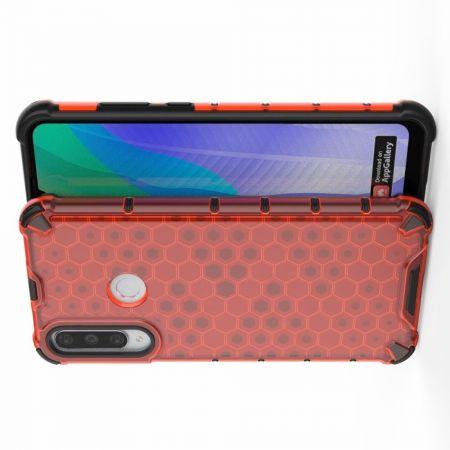 Honeycomb Противоударный Защитный Силиконовый Чехол для Телефона TPU для Huawei Y6p Красный