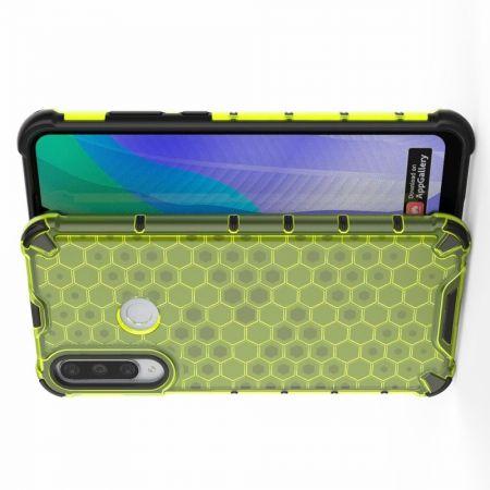 Honeycomb Противоударный Защитный Силиконовый Чехол для Телефона TPU для Huawei Y6p Зеленый