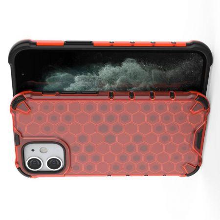 Honeycomb Противоударный Защитный Силиконовый Чехол для Телефона TPU для iPhone 12 mini Красный