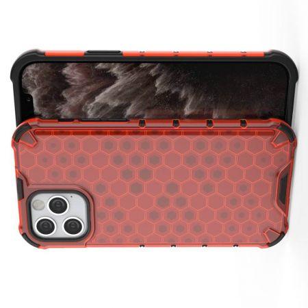 Honeycomb Противоударный Защитный Силиконовый Чехол для Телефона TPU для iPhone 12 Pro 6.1 / Max 6.1 Красный
