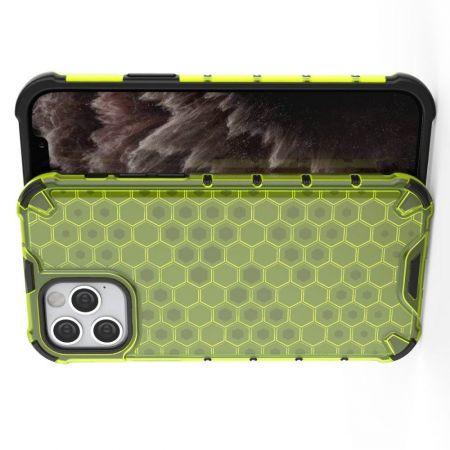 Honeycomb Противоударный Защитный Силиконовый Чехол для Телефона TPU для iPhone 12 Pro 6.1 / Max 6.1 Зеленый