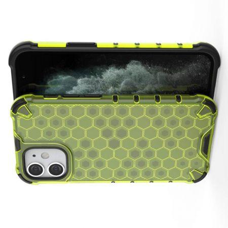 Honeycomb Противоударный Защитный Силиконовый Чехол для Телефона TPU для iPhone 12 mini Зеленый