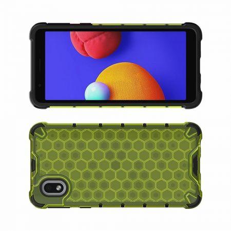 Honeycomb Противоударный Защитный Силиконовый Чехол для Телефона TPU для Samsung Galaxy A01 Core Зеленый