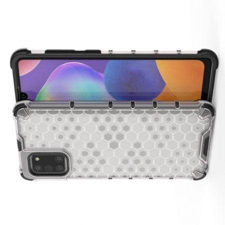 Honeycomb Противоударный Защитный Силиконовый Чехол для Телефона TPU для Samsung Galaxy A31 Белый