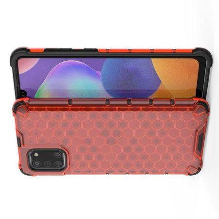 Honeycomb Противоударный Защитный Силиконовый Чехол для Телефона TPU для Samsung Galaxy A31 Красный