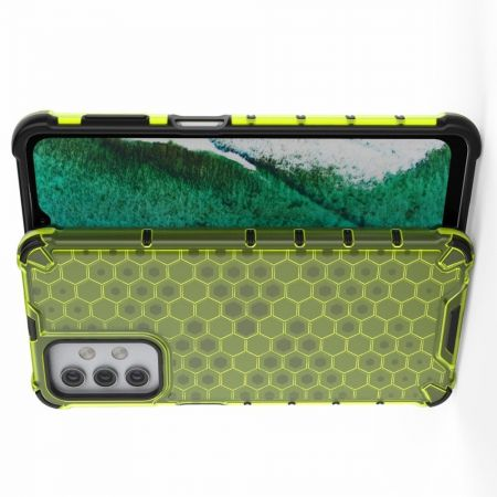 Honeycomb Противоударный Защитный Силиконовый Чехол для Телефона TPU для Samsung Galaxy A32 Зеленый