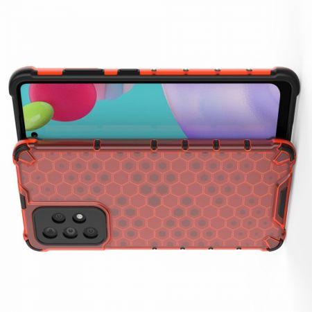 Honeycomb Противоударный Защитный Силиконовый Чехол для Телефона TPU для Samsung Galaxy A52 Красный