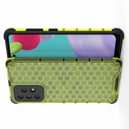Honeycomb Противоударный Защитный Силиконовый Чехол для Телефона TPU для Samsung Galaxy A52 Зеленый
