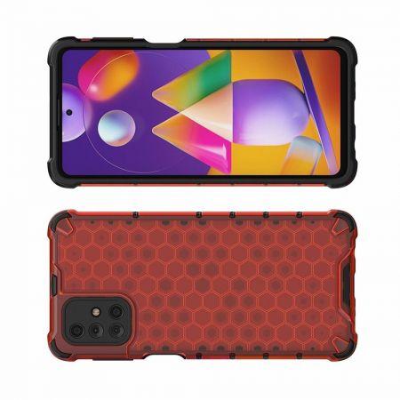 Honeycomb Противоударный Защитный Силиконовый Чехол для Телефона TPU для Samsung Galaxy M31s Красный