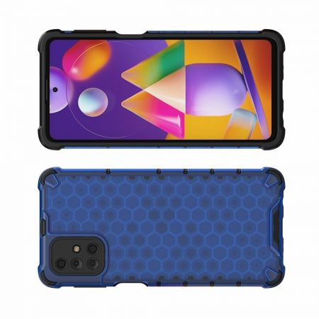 Honeycomb Противоударный Защитный Силиконовый Чехол для Телефона TPU для Samsung Galaxy M31s Синий