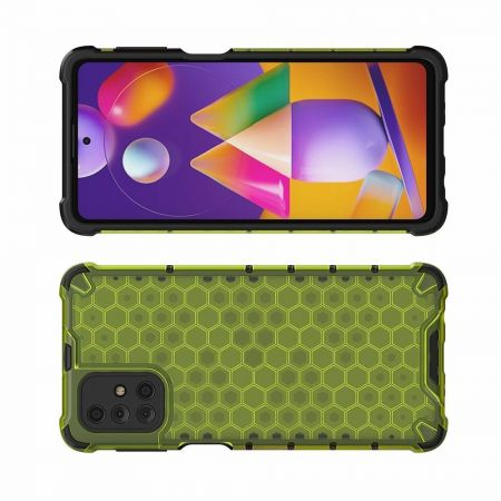 Honeycomb Противоударный Защитный Силиконовый Чехол для Телефона TPU для Samsung Galaxy M31s Зеленый