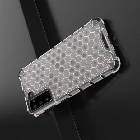 Honeycomb Противоударный Защитный Силиконовый Чехол для Телефона TPU для Samsung Galaxy S21 Белый