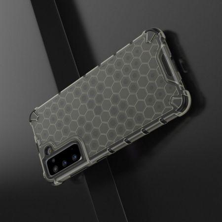 Honeycomb Противоударный Защитный Силиконовый Чехол для Телефона TPU для Samsung Galaxy S21 Черный