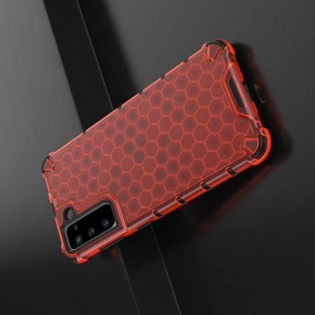 Honeycomb Противоударный Защитный Силиконовый Чехол для Телефона TPU для Samsung Galaxy S21 Красный