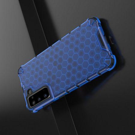 Honeycomb Противоударный Защитный Силиконовый Чехол для Телефона TPU для Samsung Galaxy S21 Синий