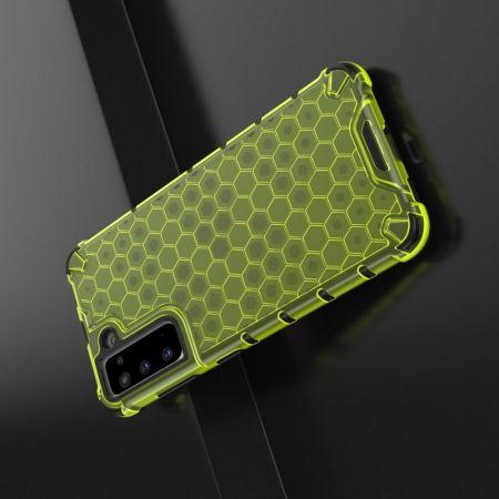 Honeycomb Противоударный Защитный Силиконовый Чехол для Телефона TPU для Samsung Galaxy S21 Желтый