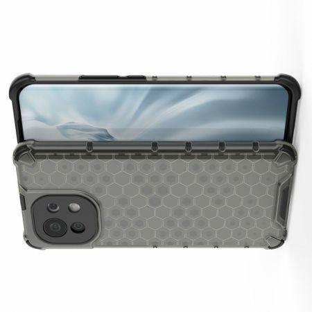 Honeycomb Противоударный Защитный Силиконовый Чехол для Телефона TPU для Xiaomi Mi 11 Черный
