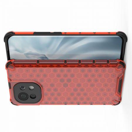 Honeycomb Противоударный Защитный Силиконовый Чехол для Телефона TPU для Xiaomi Mi 11 Красный