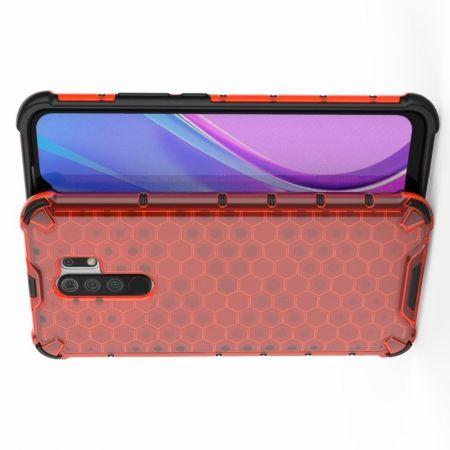 Honeycomb Противоударный Защитный Силиконовый Чехол для Телефона TPU для Xiaomi Redmi 9 Красный