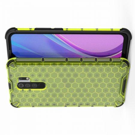 Honeycomb Противоударный Защитный Силиконовый Чехол для Телефона TPU для Xiaomi Redmi 9 Зеленый