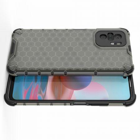 Honeycomb Противоударный Защитный Силиконовый Чехол для Телефона TPU для Xiaomi Redmi Note 10 Черный