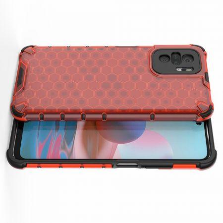 Honeycomb Противоударный Защитный Силиконовый Чехол для Телефона TPU для Xiaomi Redmi Note 10 Красный