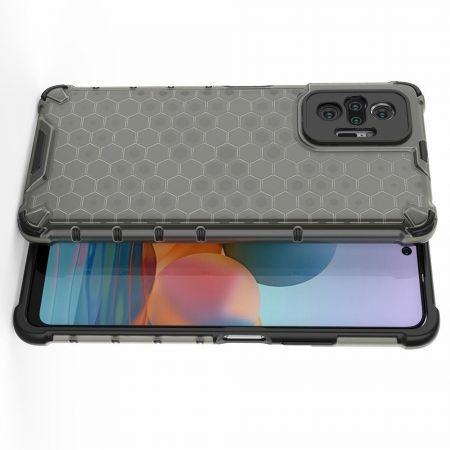 Honeycomb Противоударный Защитный Силиконовый Чехол для Телефона TPU для Xiaomi Redmi Note 10 Pro Черный