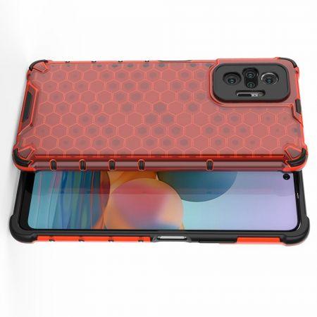 Honeycomb Противоударный Защитный Силиконовый Чехол для Телефона TPU для Xiaomi Redmi Note 10 Pro Красный