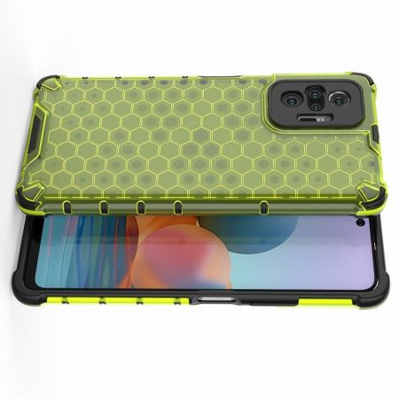 Honeycomb Противоударный Защитный Силиконовый Чехол для Телефона TPU для Xiaomi Redmi Note 10 Pro Зеленый