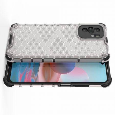 Honeycomb Противоударный Защитный Силиконовый Чехол для Телефона TPU для Xiaomi Redmi Note 10 Серый