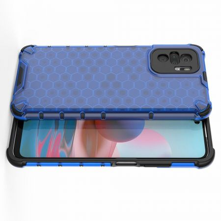 Honeycomb Противоударный Защитный Силиконовый Чехол для Телефона TPU для Xiaomi Redmi Note 10 Синий