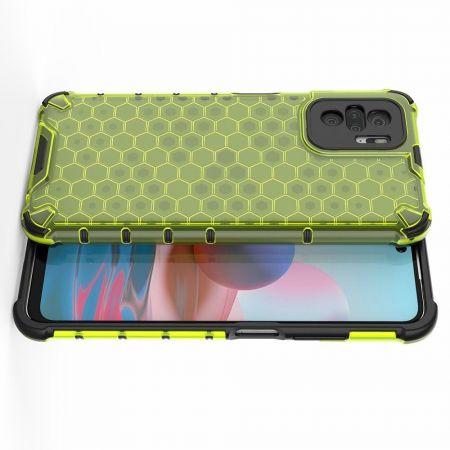 Honeycomb Противоударный Защитный Силиконовый Чехол для Телефона TPU для Xiaomi Redmi Note 10 Зеленый