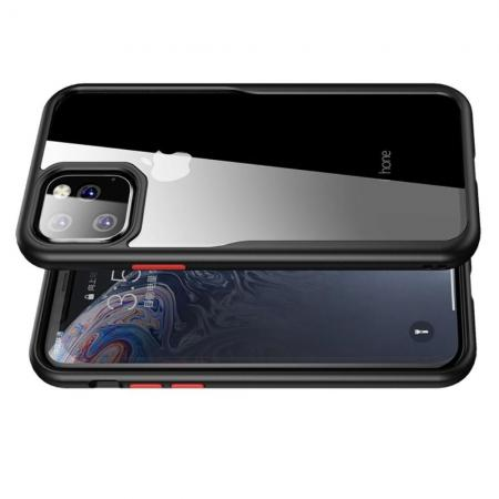 IPAKY Противоударный прозрачный пластиковый кейс с силиконовым бампером для iPhone 11 Черный