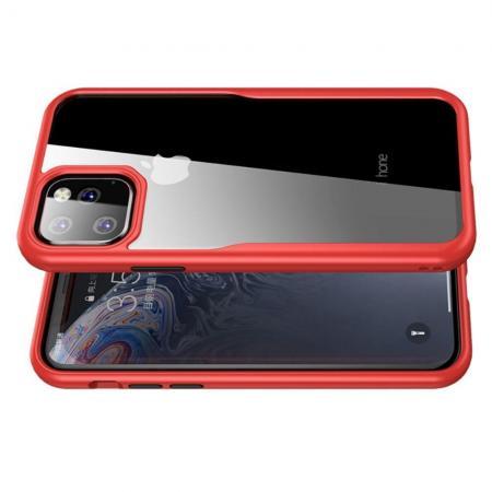 IPAKY Противоударный прозрачный пластиковый кейс с силиконовым бампером для iPhone 11 Красный