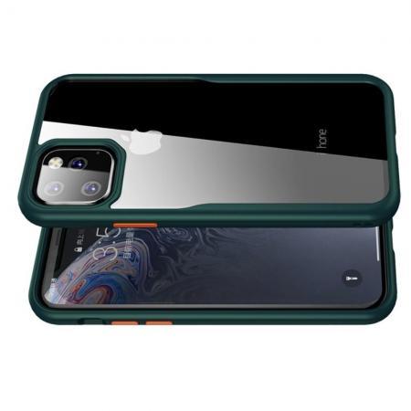 IPAKY Противоударный прозрачный пластиковый кейс с силиконовым бампером для iPhone 11 Pro Max Зеленый