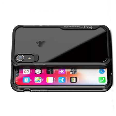 IPAKY Противоударный прозрачный пластиковый кейс с силиконовым бампером для iPhone XR Черный