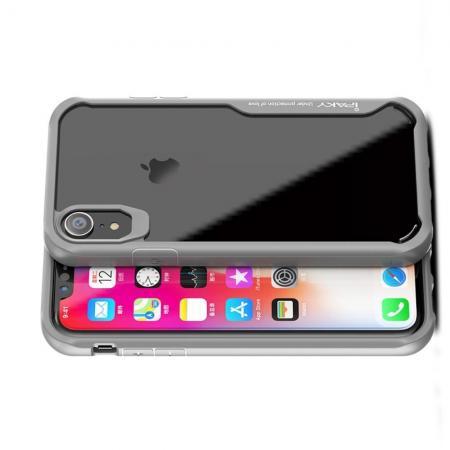 IPAKY Противоударный прозрачный пластиковый кейс с силиконовым бампером для iPhone XR Серый