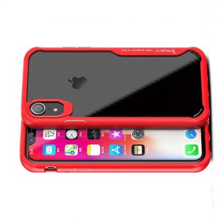 IPAKY Противоударный прозрачный пластиковый кейс с силиконовым бампером для iPhone XR Красный