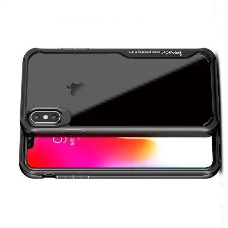 IPAKY Противоударный прозрачный пластиковый кейс с силиконовым бампером для iPhone XS Max Черный